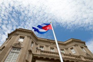 Cuban Flag flying in front of the Cuban Embassy (Image Courtesy of BBC)