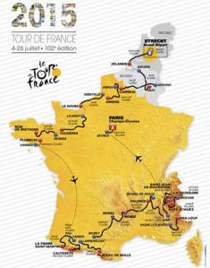 The route of the 2015 Tour de France (Image Courtesy of Tour de France)