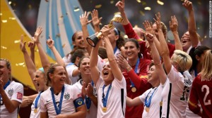 U.S. Women's Soccer Team Celebrating their World Cup Victory (Image Courtesy of CNN)