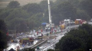A27 blocked off by crews removing debris (Image Courtesy of BBC)