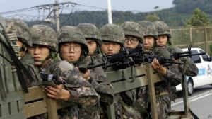 South Korean Soldiers on Border patrol (Image Courtesy of BBC)