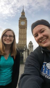 Holly at Big Ben with fellow Sycamore Dana Hobbs. Dana is also studying at Edge Hill this semester.