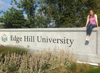 Holly with the Edge Hill University Sign