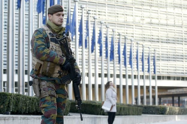 Soldier in front of EU in Brussels