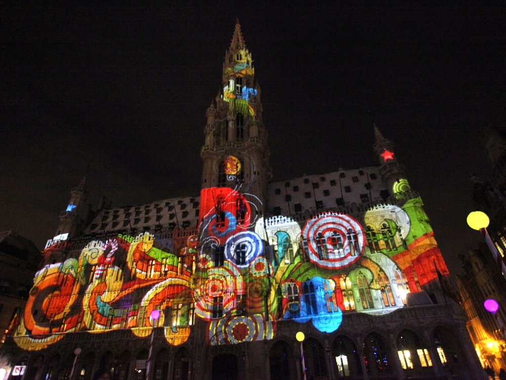 Christmas Lights Illuminate La Grand Place In Brussels