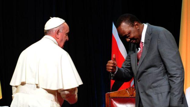 President Uhuru Kenyatta with Pope Francis at Nairobi's State House