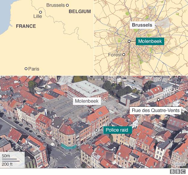 Brussels Abdeslam Raid Map
