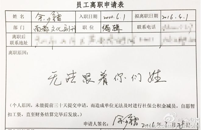 Resignation Form China
